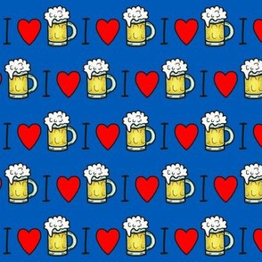 I <3 Frosty Cold Beer / I love (heart) Ale on Blue