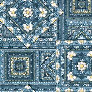 Vintage Squares  - blue/lemon