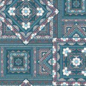 Vintage Squares - teal/purple