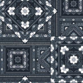 Vintage Squares - indigo/sky