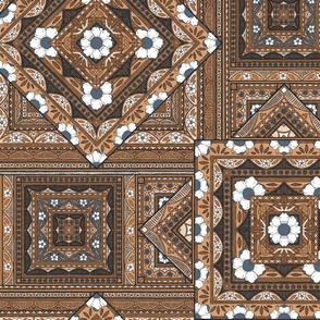 Vintage Squares - terracotta/navy