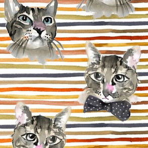 Halloween Cats Water Color Painted against Stripes