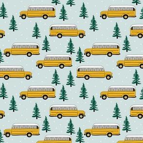 Vintage American school bus ride winter mountain peak travels pine tree forest theme mint green pink girls