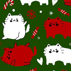 Christmas Cats and Candy Canes - Green Background