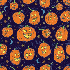 Happy Jack-O-Lanterns with stiched stars and moons
