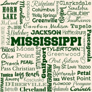 Mississippi cities, cream and green