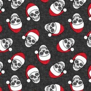(small scale) santa hat skulls on dark grey - LAD19BS