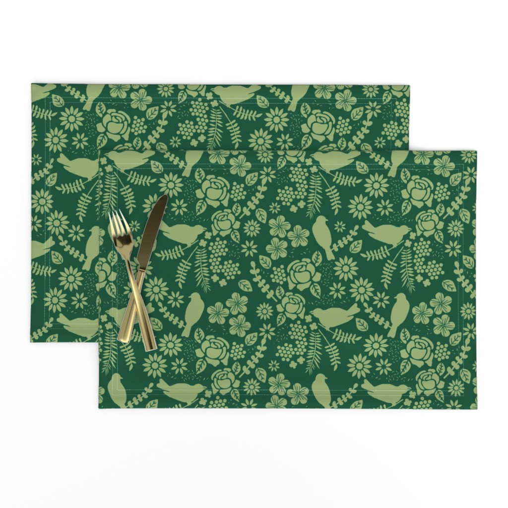 Lamona Cloth Placemats featuring Birds and Flowers Cut Out (Green) by lydia_meiying