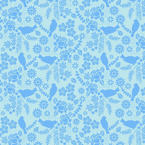 Birds and Flowers Cut Out (Light Blue & Pastel Blue)