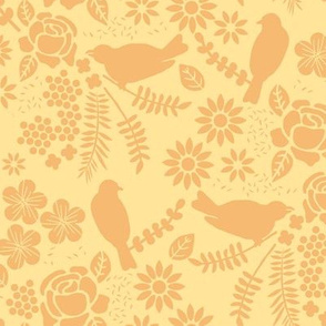 Birds and Flowers Cut Out (Light Yellow and Orange)