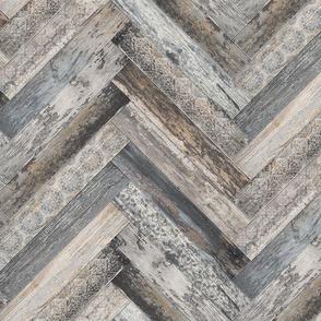 Vintage Wood Chevron Tiles Herringbone  Grey LIght Brown