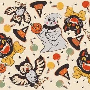 Vintage halloween party on tan