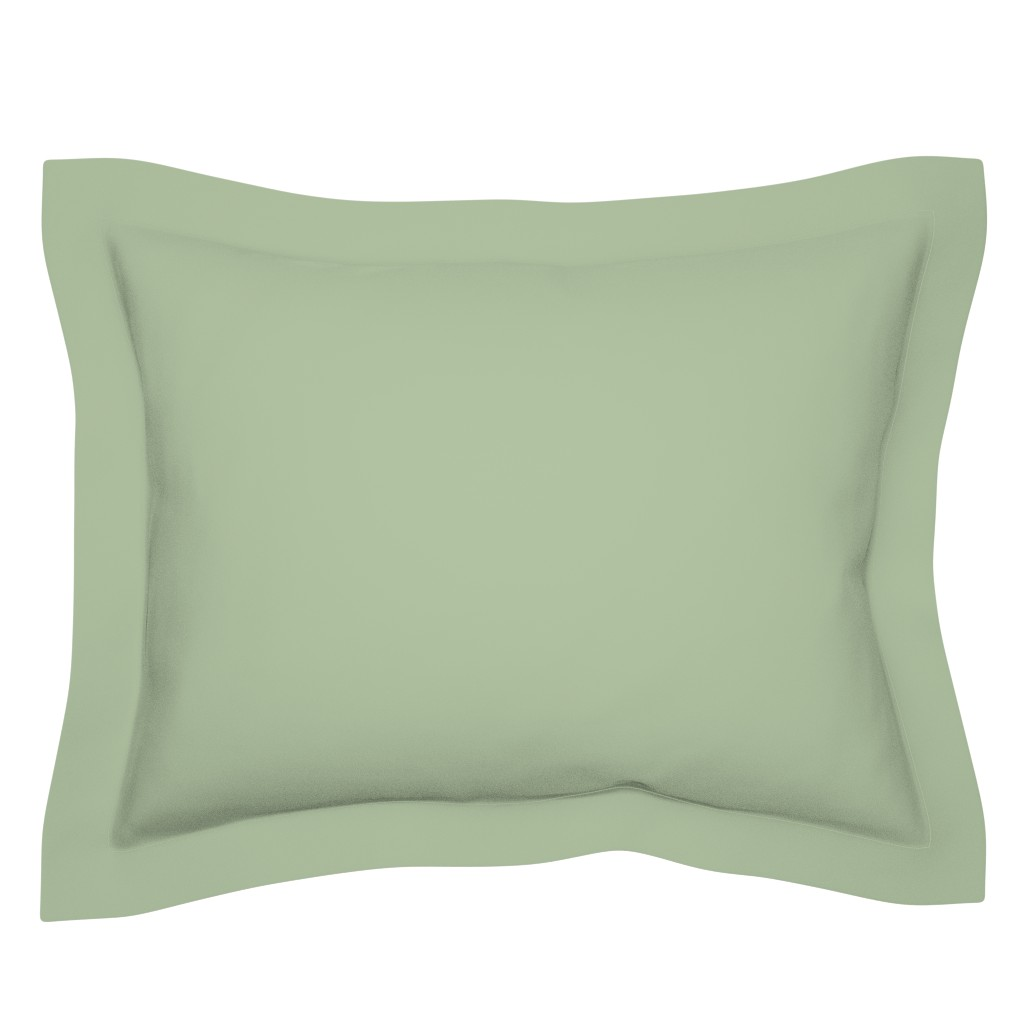 Sebright Pillow Sham featuring Sage Green Solid Color by delinda_graphic_studio