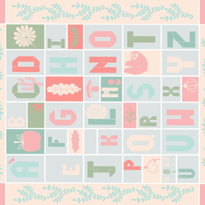 Alphabet cheater quilt