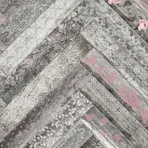 Vintage Wood Chevron Tiles Herringbone Pink Grey