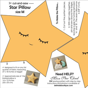 Star Pillow Medium Size cut and sew yellow black