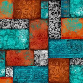 Bohemian Paradise Patches rust orange turquoise
