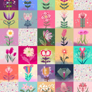 Fantasy Flowers cheater quilt with spots
