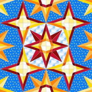 Compass rose geometric star quilt blue 5