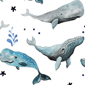 Swimming Whales White Ground (Large Scale)
