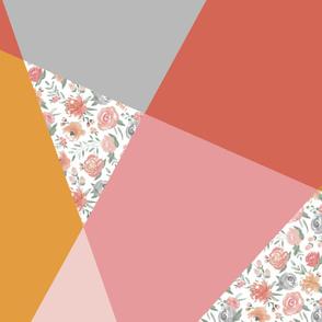 "42"" width 1 yd Sunset Floral Modern Cheater Quilt"