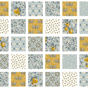 Bees, Lemons, & Moths with White Sashing - Cheater Quilt - Aqua Blue, Yellow Gold