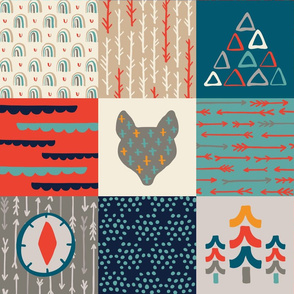 Scandi Woodland Adventure Cheater Quilt // Animals + Landscape // Texture, Shapes, Geometric // Rainbows, Outdoors, Hiking, Trees, Forest, Mountains, Compass, Owl, Fox, Bear, Deer, Reindeer, Sunshine, Squirrel, Hedgehog, Paw print, Dots, Clouds, Weather