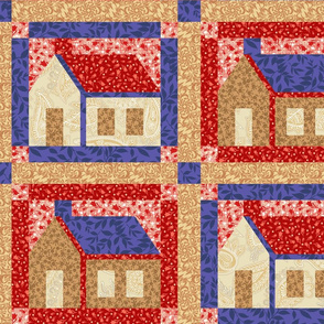 Quilt block house in red and blue