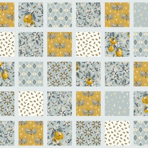 Bees, Lemons, & Moths - Cheater Quilt - Aqua Sashing