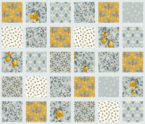 Bees, Lemons, & Moths - Cheater Quilt - Aqua Sashing
