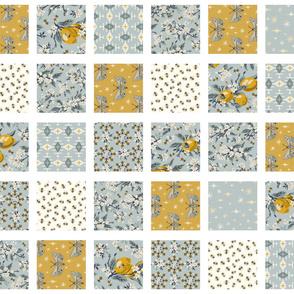 Bees, Lemons, & Moths - ROTATED - White Sashing - Cheater Quilt