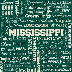 Mississippi cities, green