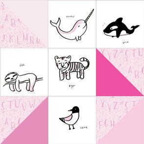animal alphabet quilt pink