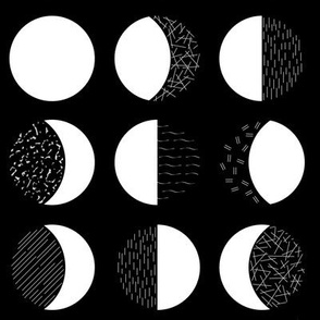 Moon Phases - Black and White