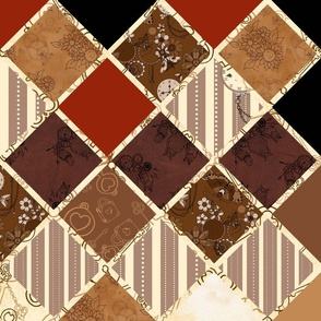 Vintage Tones Diamond cheater quilt