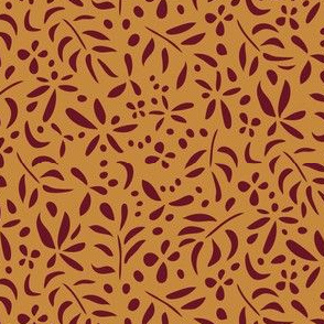 Damask Inspired: Maroon on Ochre - small scale
