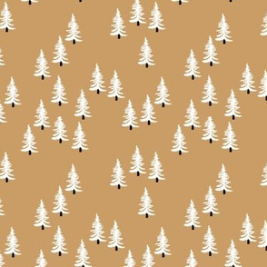 Sweet minimal style pine tree forest scandinavian woodland mountain theme Christmas ginger white