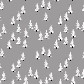 Sweet minimal style pine tree forest scandinavian woodland mountain theme Christmas gray black