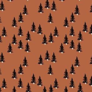 Sweet minimal style pine tree forest scandinavian woodland mountain theme Christmas rust copper black