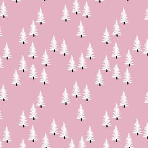 Sweet minimal style pine tree forest scandinavian woodland mountain theme Christmas pink black