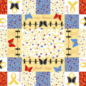 Faith Hope Courage Love Gold Ribbon Quilt