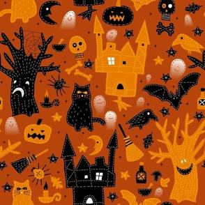 Halloween Night Embroidered
