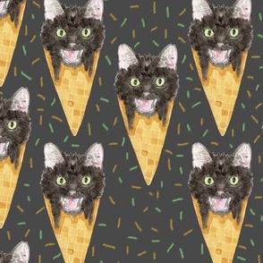 Halloween Black Cat Ice Cream Cones