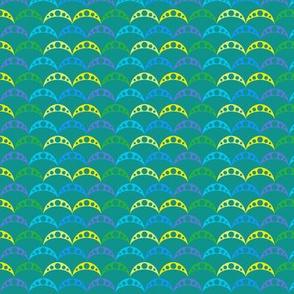 woodland teepee coordinate: green fish scale