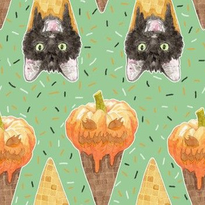 Jack O'Lantern and Halloween Cats Ice Cream Cones Ice Cream Cones