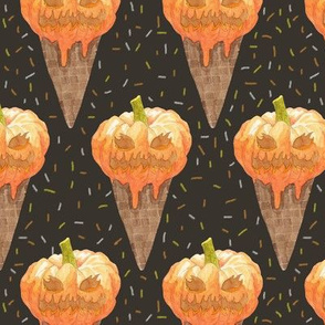 Jack O'Lantern Ice Cream Cones
