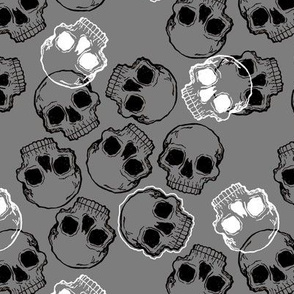 Black and White Skulls on Grey