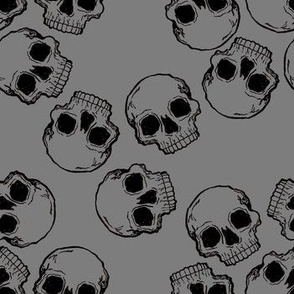Black Skulls on Grey