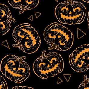 Orange Jack O'Lanterns on Black
