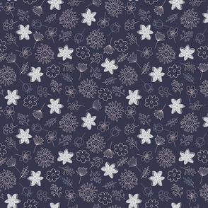 Cute Pastel Flowers - Blue Gray